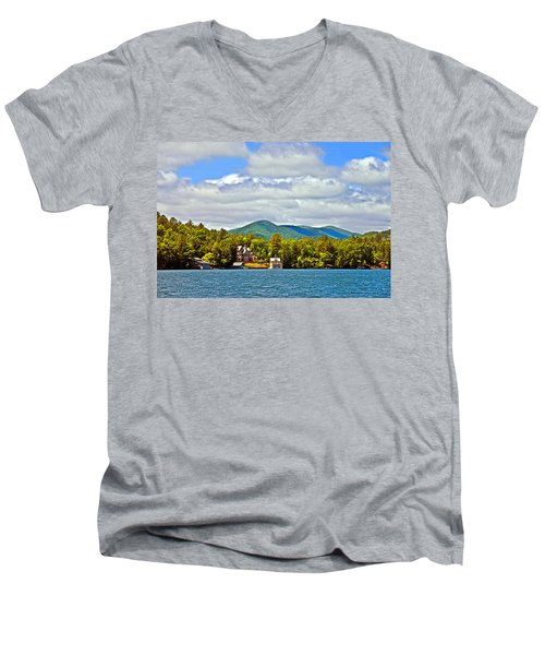 Distant Lake View In Spring Men's V-Neck T-Shirt