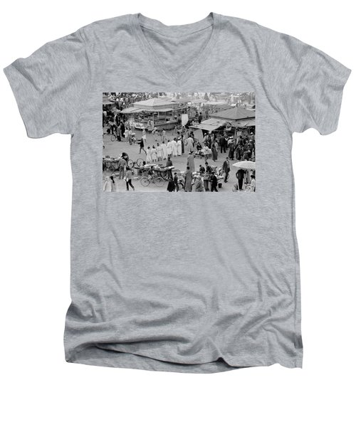 Men's V-Neck T-Shirt featuring the photograph Djemaa El Fna Marrakech Morocco by Tom Wurl