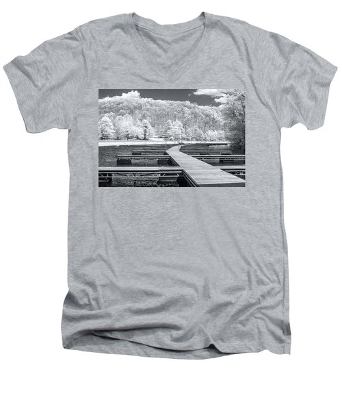 Men's V-Neck T-Shirt featuring the photograph Dock In Infrared by Mary Almond