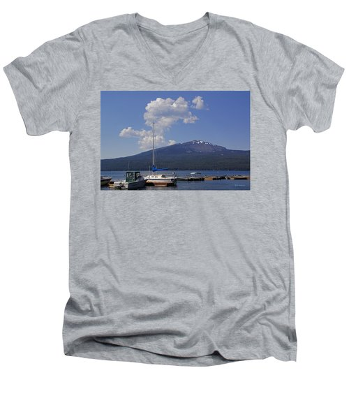 Men's V-Neck T-Shirt featuring the photograph Docks At Diamond Lake by Mick Anderson