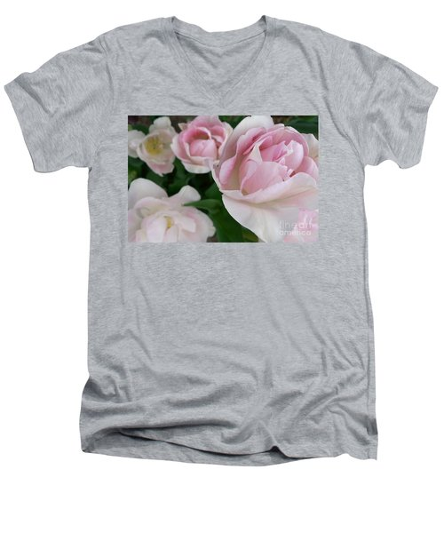 Men's V-Neck T-Shirt featuring the photograph Double Pink by Laurel Best