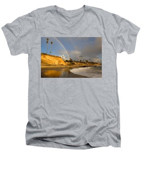 Double Raibow Over Laguna Beach Men's V-Neck T-Shirt