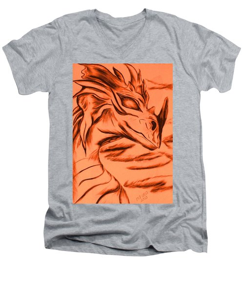 Men's V-Neck T-Shirt featuring the drawing Dragon In Color by Maria Urso