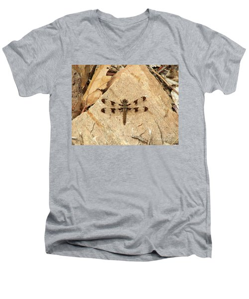 Men's V-Neck T-Shirt featuring the photograph Dragonfly At Rest by Deniece Platt