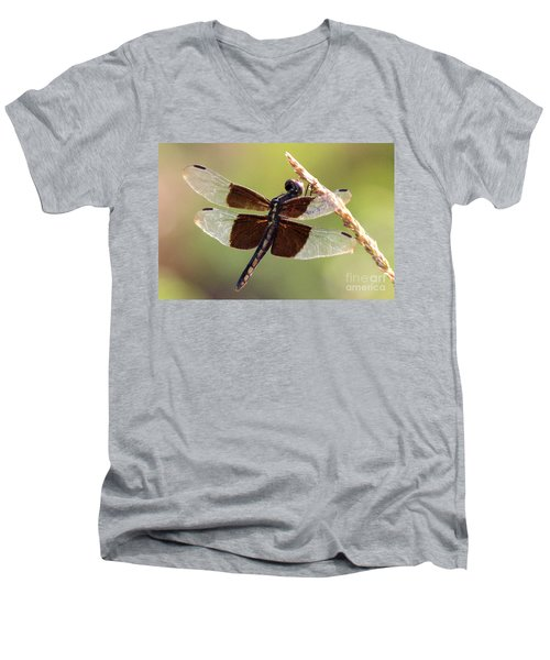 Men's V-Neck T-Shirt featuring the photograph Dragonfly Closeup by Kathy  White