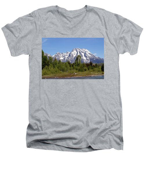 Men's V-Neck T-Shirt featuring the photograph Driftwood And The Grand Tetons by Living Color Photography Lorraine Lynch
