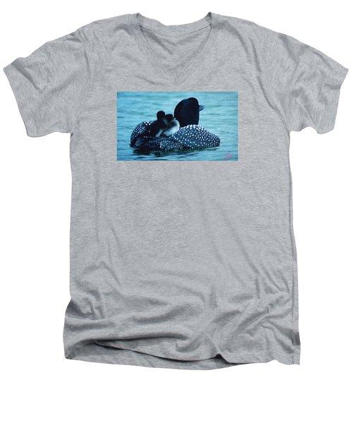 Duck Family Joy In The Lake  Men's V-Neck T-Shirt