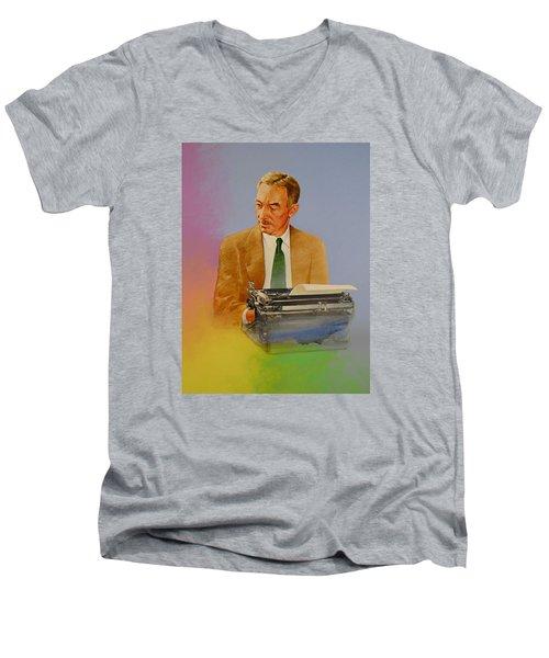E B White Men's V-Neck T-Shirt by Cliff Spohn