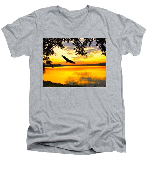 Men's V-Neck T-Shirt featuring the photograph Eagle At Sunset by Randall Branham