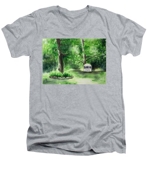 Men's V-Neck T-Shirt featuring the painting Early Summer At The Geddes Farm --ann Arbor Michigan by Yoshiko Mishina