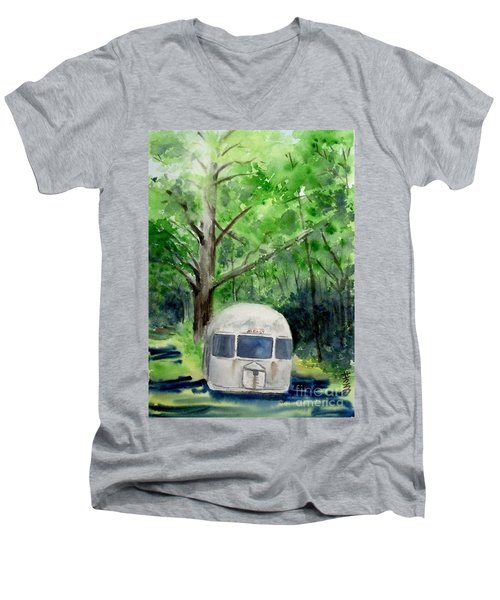 Men's V-Neck T-Shirt featuring the painting Early Summer At The Geddes Farm 1 --ann Arbor  Michigan by Yoshiko Mishina
