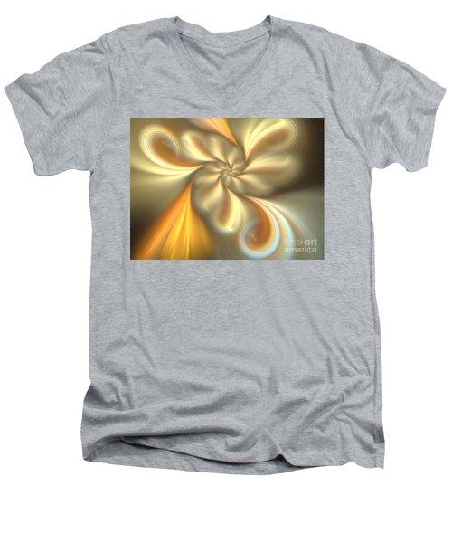 Ecru Men's V-Neck T-Shirt by Kim Sy Ok