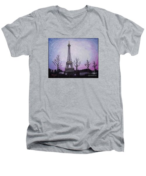Eiffel At Night Men's V-Neck T-Shirt