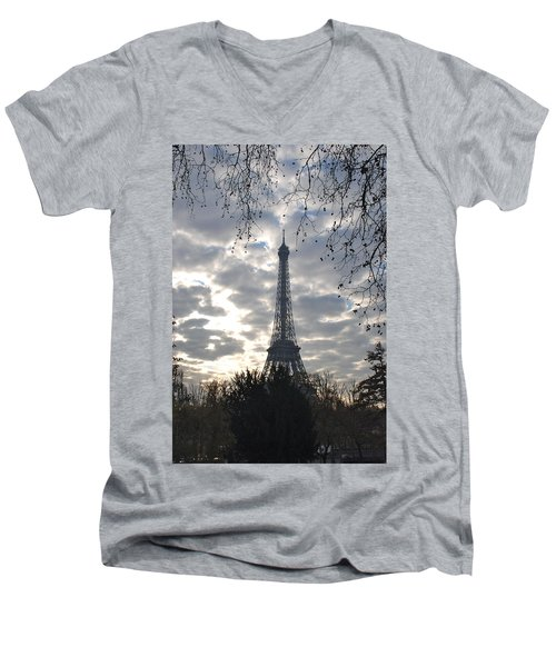 Men's V-Neck T-Shirt featuring the photograph Eiffel In The Morning by Eric Tressler