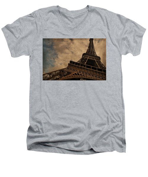 Eiffel Tower 2 Men's V-Neck T-Shirt by Mary Machare