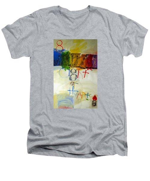 Eight Of Hearts 34-52 Men's V-Neck T-Shirt by Cliff Spohn