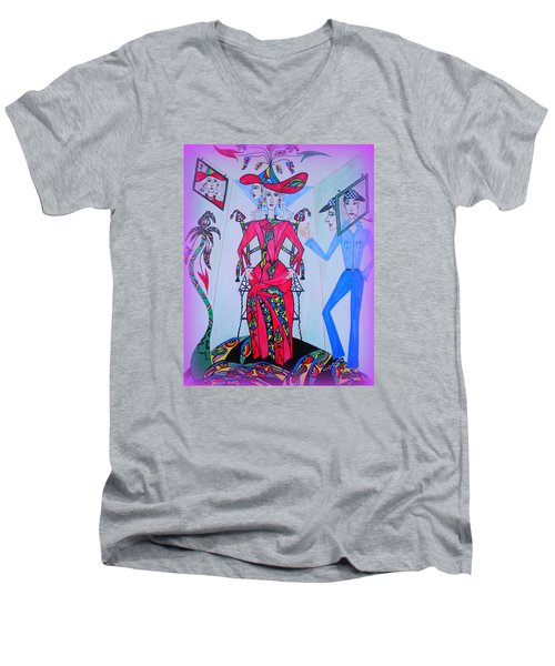 Men's V-Neck T-Shirt featuring the painting Eleonore Friend Von Claus by Marie Schwarzer