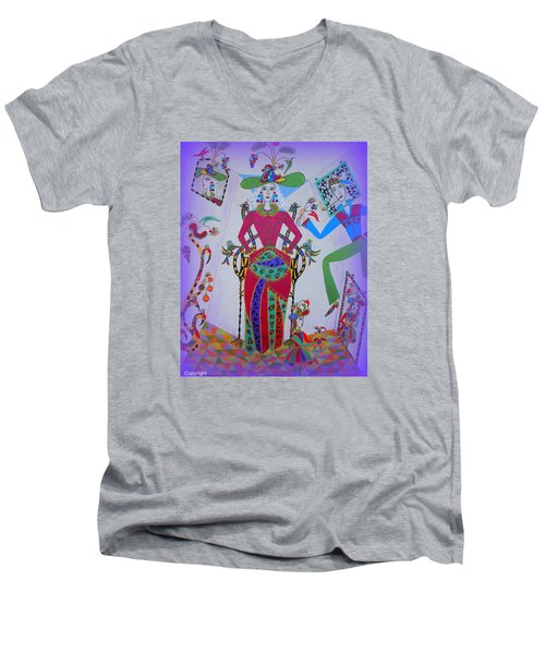 Men's V-Neck T-Shirt featuring the painting Eleonore Von Claus  Mirabel And Picolino by Marie Schwarzer