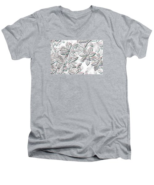 Men's V-Neck T-Shirt featuring the photograph Embossed Crotons by Tom Wurl