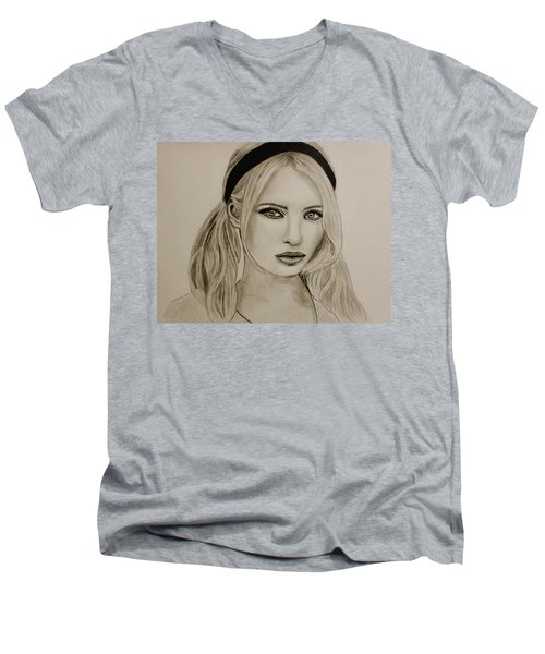 Men's V-Neck T-Shirt featuring the drawing Emily by Michael Cross