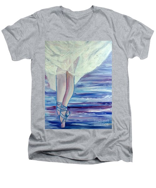 Men's V-Neck T-Shirt featuring the painting En Pointe by Julie Brugh Riffey
