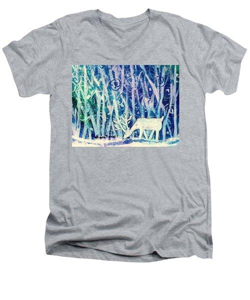 Enchanted Winter Forest Men's V-Neck T-Shirt by Shana Rowe Jackson