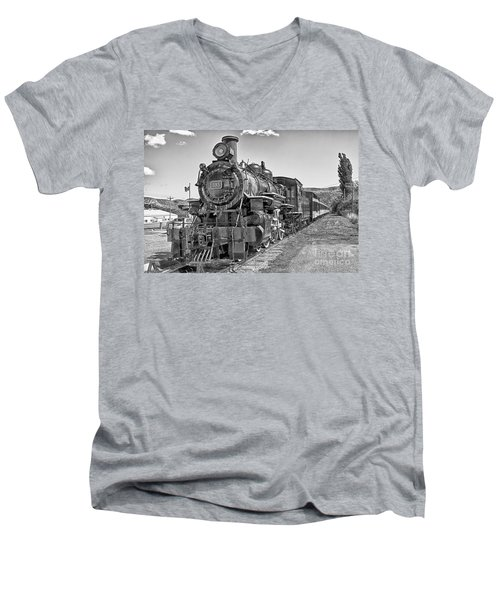 Men's V-Neck T-Shirt featuring the photograph Engine 593 by Eunice Gibb