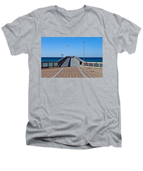 Men's V-Neck T-Shirt featuring the photograph Entrance To A Fishing Pier by Susan Leggett