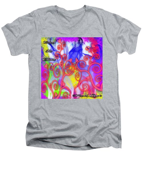 Men's V-Neck T-Shirt featuring the digital art Even In Chaos Find Love by Clayton Bruster