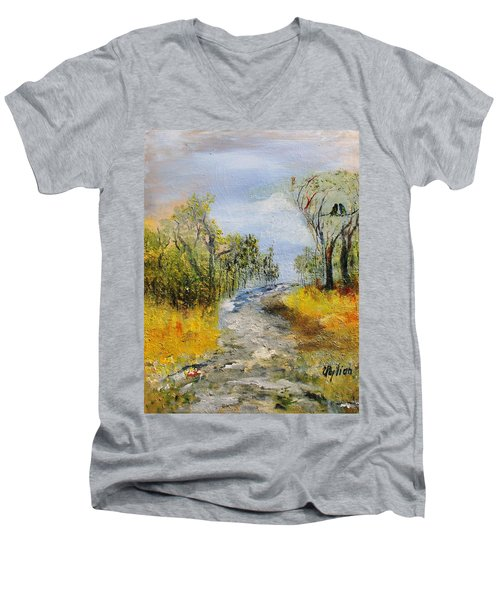 Men's V-Neck T-Shirt featuring the painting Evening Romance by Evelina Popilian
