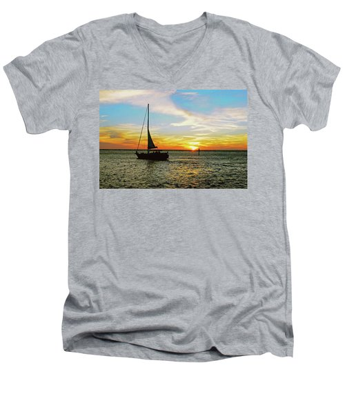 Evening Sailing Men's V-Neck T-Shirt