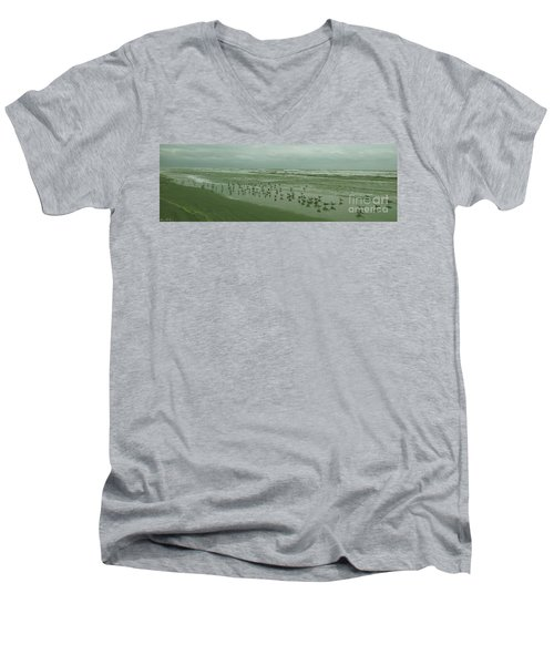 Men's V-Neck T-Shirt featuring the photograph Facing The Wind by Donna Brown