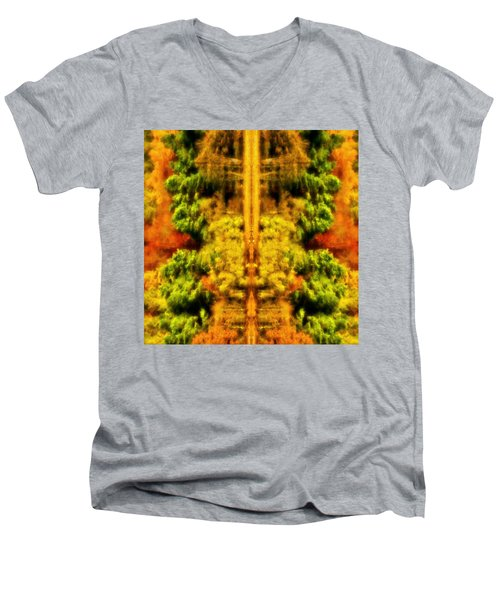 Fall Abstract Men's V-Neck T-Shirt by Meirion Matthias