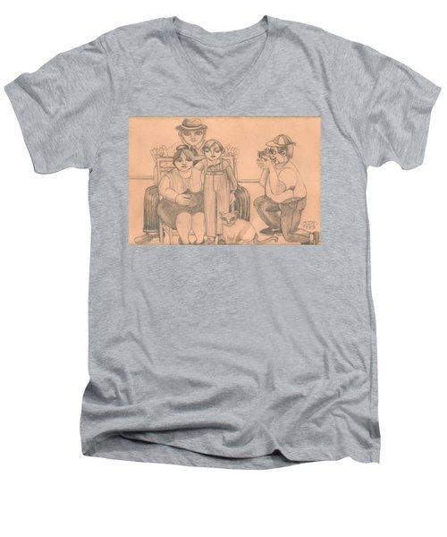 Family Photo Men's V-Neck T-Shirt by Rachel Hershkovitz