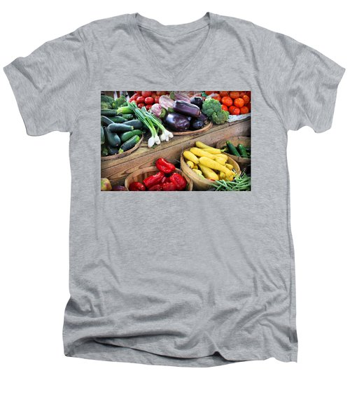 Farmers Market Summer Bounty Men's V-Neck T-Shirt by Kristin Elmquist