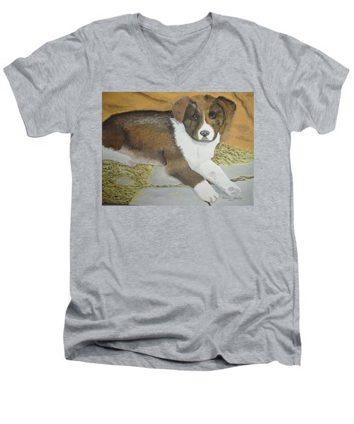 Men's V-Neck T-Shirt featuring the painting Fat Puppy by Norm Starks