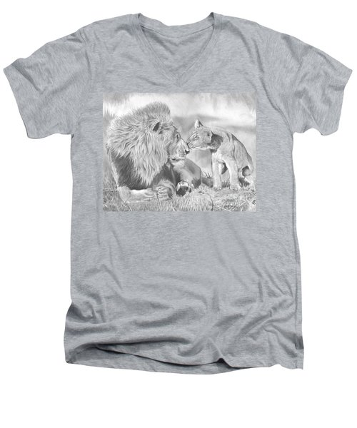 Father And Cub Men's V-Neck T-Shirt