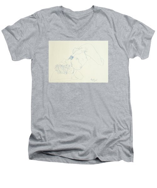 Female Nude In Blue Men's V-Neck T-Shirt by Rand Swift