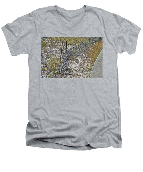 Men's V-Neck T-Shirt featuring the photograph Fence And Boardwalk by Susan Leggett