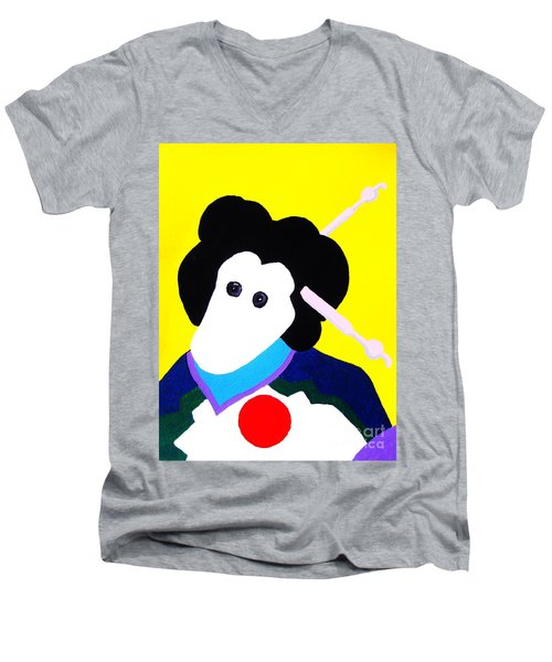 Festival Doll With Shoe Button Eyes Men's V-Neck T-Shirt