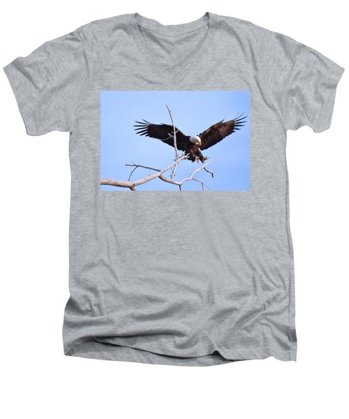 Men's V-Neck T-Shirt featuring the photograph Final Approach by Jim Garrison