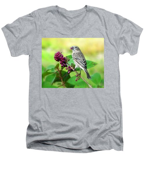 Finch Eating Beautyberry Men's V-Neck T-Shirt