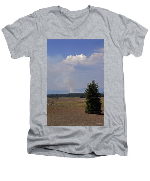 Men's V-Neck T-Shirt featuring the photograph Fire In The Cascades by Mick Anderson