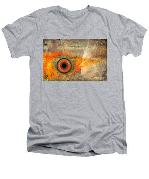 Men's V-Neck T-Shirt featuring the digital art Fire Look by Rosa Cobos