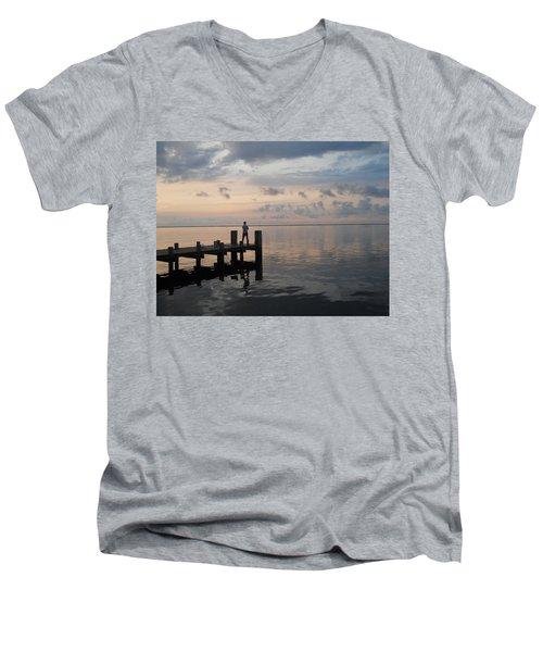 Men's V-Neck T-Shirt featuring the photograph First Light by Clara Sue Beym