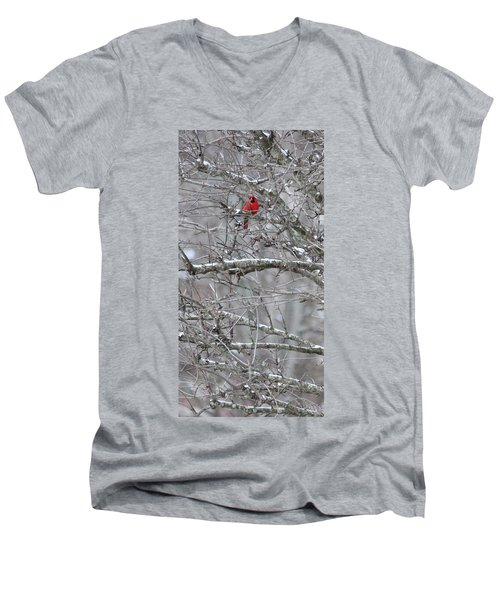 Men's V-Neck T-Shirt featuring the photograph First Snow Fall by Kume Bryant