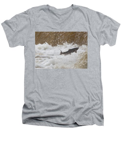 Fish Jumping Upstream In The Water Men's V-Neck T-Shirt