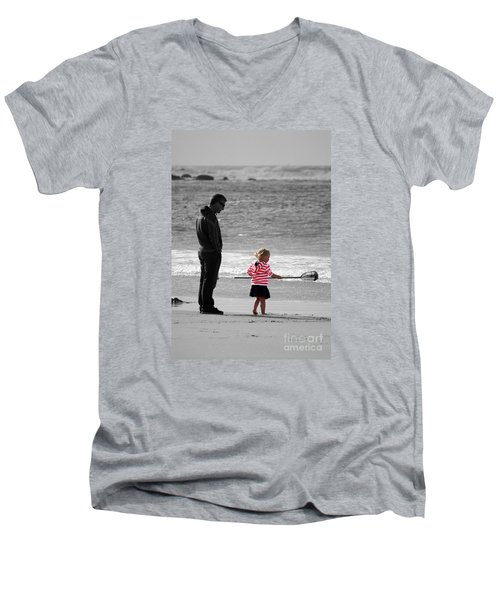 Men's V-Neck T-Shirt featuring the photograph Fish With Me Daddy by Terri Waters