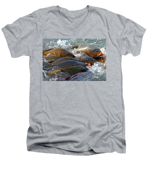 Men's V-Neck T-Shirt featuring the photograph Fishing And Hunting by Elizabeth Winter