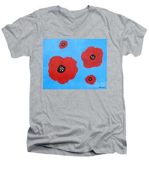 Men's V-Neck T-Shirt featuring the painting Floating Flowers by Alys Caviness-Gober
